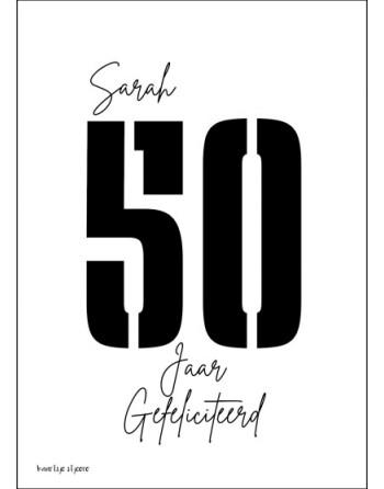 Kaart A6 enkel - Sarah 50...